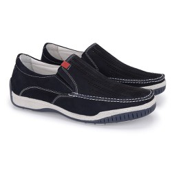 Mocassim em Couro Conforto Anti Estresse - Azul Marinho - FB6015AM - Pé Relax Sapatos Confortáveis