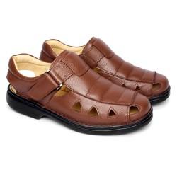 Sandália Masculina Fechada Tamanho Grande - Marrom - FB658M - TG - Pé Relax Sapatos Confortáveis