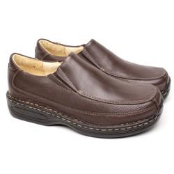 Sapato Marrom Masculino Anti Stress - FB16030M - Pé Relax Sapatos Confortáveis