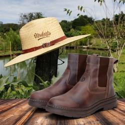 Kit Bota Farmer Act Café + Chapéu de Palha Modesto... - ACT Footwear