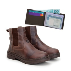 Bota Farmer Act Café + Carteira Café - ACT Footwear