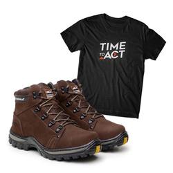 Bota ACT Robust - Café + Camiseta Preta - ACT Footwear
