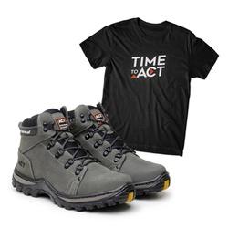 Bota ACT Robust - Cinza + Camiseta Preta - ACT Footwear