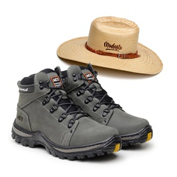 Bota ACT Robust - Cinza + Chapeu de Palha Modesto - ACT Footwear