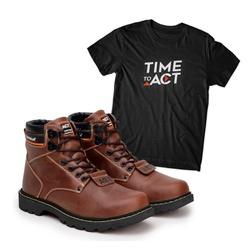Bota ACT Second Shift Crazy Horse + Camiseta Preto - ACT Footwear