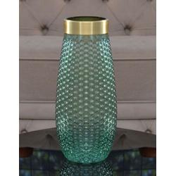 Vaso Decorativo Vidro Transparente Verde com Doura... - ALAMIN IMPORTAÇÃO EXPORAÇÃO LTDA