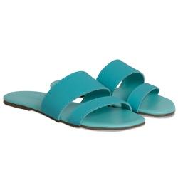 Sandália Rasteira Feminina Azul Aqua
