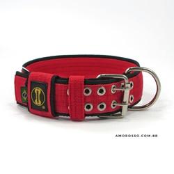 Coleira Para Cachorro Amorosso Slim (vermelho e pr... - AMOROSSO