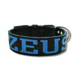 Coleira Para Cachorro Personalizada - Preto e Azul... - AMOROSSO