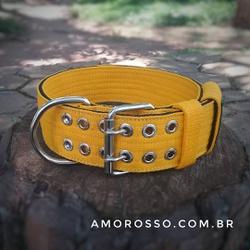 Coleira Para Cachorro Amorosso (amarelo e preto) -... - AMOROSSO