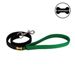 GUIA CURTA AMOROSSO® (preto e verde) 80CM - G01020... - AMOROSSO
