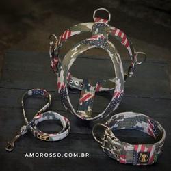 Kit Amorosso Camuflado USA (Peitoral + Coleira + G... - AMOROSSO