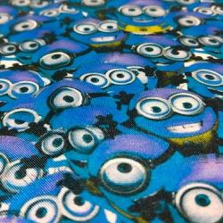 Tecido Cetim Charmeuse Minions Azul - 10009 - APOLO ARTES