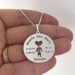 Colar Mandala em Prata 925 Dados Nascimento - 962 - AS JOIAS