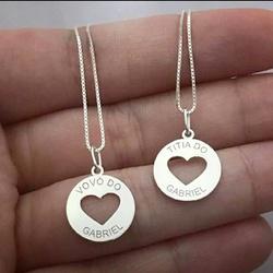 Colar Redondo Coração Em Prata 925 Personalizado -... - AS JOIAS
