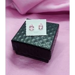 Brinco Gota 6x8 em Prata 925 - Rosa - 932.1 - AS JOIAS