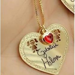 Colar personalizado banhado a ouro coração com esc... - AS JOIAS