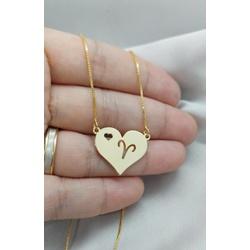 Colar de coração com signo Banhada a Ouro - 609 - AS JOIAS