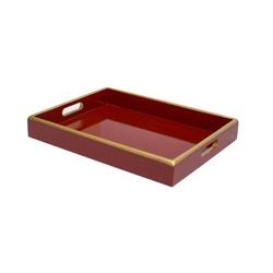Bandeja Annie Vermelha com Filete Dourado P - Astuti Casa