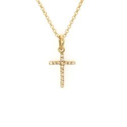 Pingente ouro amarelo 18k com cristais - Cruz - B... - BAMBINA JOIAS