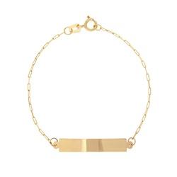 Pulseira ouro amarelo 18k - Plaquinha Cartier - b1... - BAMBINA JOIAS