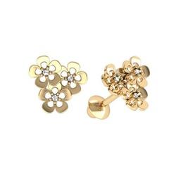 Brinco de ouro amarelo 18k - Margarida - B1132 - BAMBINA JOIAS