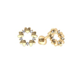 Brinco de ouro amarelo 18k - mini coracao - B1130 - BAMBINA JOIAS