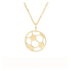 Pingente ouro amarelo 18k - Bola de futebol - b117 - BAMBINA JOIAS