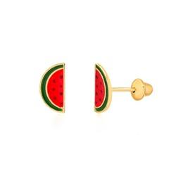 Brinco de ouro amarelo 18k - melancia - B1208 - BAMBINA JOIAS