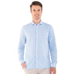 Camisa Linho e Algodão Azul Claro Manga Longa - 79... - Basilio Brazilian Wear