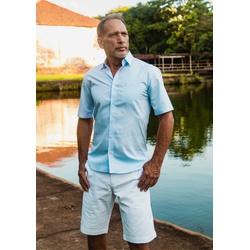 Camisa Social Lisa Azul Comfort Manga Curta - 7900... - Basilio Since 1966