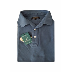 Camisa Polo Azul Petroleo Algodão - 790001907 - Basilio Brazilian Wear