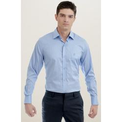 Camisa Social Listrada Azul Comfort - 26651211010 - Basilio Brazilian Wear