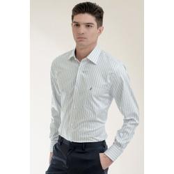Camisa Social Listrada Azul Marinho Comfort - 2661... - Basilio Brazilian Wear
