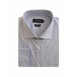 Camisa Social Listrada Maquinetada Azul Comfort 45... - Basilio Brazilian Wear