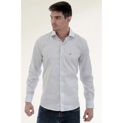 Camisa Social Listrada Azul Slim - 26637211010 - Basilio Brazilian Wear