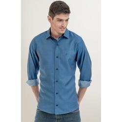 Camisa Social Texturizada Azul Slim - 27197211010 - Basilio Brazilian Wear