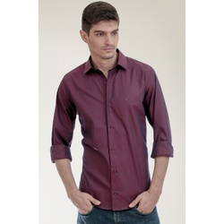 Camisa Social Texturizada Vinho Slim - 24647211080 - Basilio Brazilian Wear