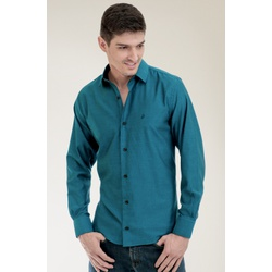 Camisa Social Texturizada Verde Slim - 27337211067 - Basilio Brazilian Wear