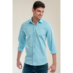 Camisa Social Texturizada Azul Slim - 28167211010 - Basilio Brazilian Wear