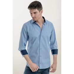 Camisa Social Texturizada Azul Slim - 26927211016 - Basilio Brazilian Wear