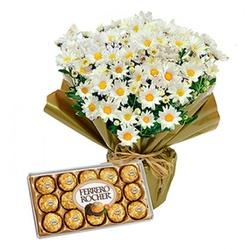 Vaso de Margaridas e Ferrero - 12396 - Bellas Cestas Online Salvador