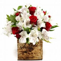 Arranjo de Rosas Vermelhas com Astromélias Brancas... - Bellas Cestas Online Salvador