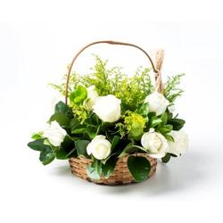 Cesta com 15 Rosas Brancas - 8828 - Bellas Cestas Online Salvador