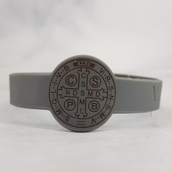 Pulseira de Silicone de São Bento Cinza Escuro - ... - Betânia Loja Católica