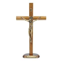 Crucifixo Mesa - Madeira Cilíndrica São Bento 26 c... - Betânia Loja Católica