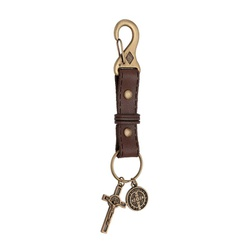 Chaveiro em couro Medalha São Bento - 26913 - Betânia Loja Católica