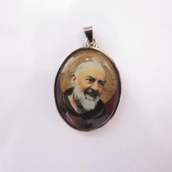 Medalha Oval São Padre Pio 4 cm - 25769 - Betânia Loja Católica