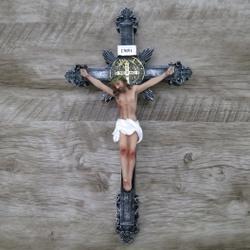 Crucifixo Resina -Medalha São Bento - 30 cm - 270... - Betânia Loja Católica
