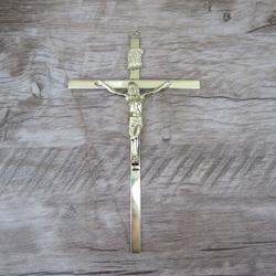 Crucifixo de Parede Estilizado Dourado 19x32 (ref ... - Betânia Loja Católica
